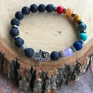 Silverskylight Jewelry - 7 chakras reiki rainbow gems lava rock hamsa